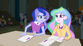 Luna and Celestia looking over their notes EG2.png
