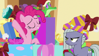 Pinkie Pie tosses smashed gift box away MLPBGE