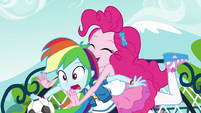 Pinkie tackles Rainbow Dash from behind EGFF