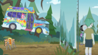 Rainbooms' bus flies toward movie backdrop EGDS12