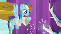 Rainbow Dash pouring fake snow S8E24