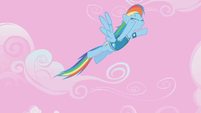 Rainbow Dash soaring in the sky S1E11