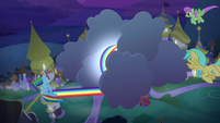 Rainbow Dash wraps cloud in sonic rainboom S9E17