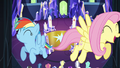 Rainbow and Fluttershy fly through the castle S4E26.png