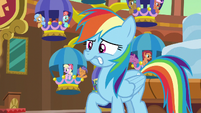 Rainbow nervously watching the grannies stretch S8E5