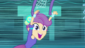 Scootaloo flying around the gym EG.png