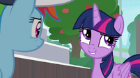 Twilight rolls her eyes at Rainbow Dash S9E15