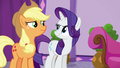 AJ and Rarity totally not buying it S6E10.png