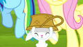 Angel putting a basket over his head S8E18.png