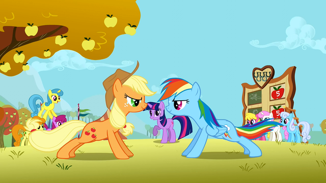 Datei:Applejack and Rainbow Dash doing push ups S1E13.png