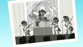 Black and white photo of Pinkie and her band S5E11.png