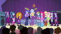 Dazzlings join the Rainbooms and principals on stage EG2.png