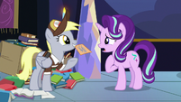 Derpy presenting the letter to Starlight Glimmer S6E25
