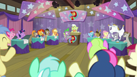 Everypony cheering for Trivia Trot S9E16
