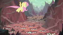 Fluttershy flies over the hatching grounds S9E9