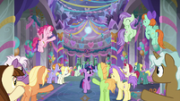 Friendship students cheer at the ball S9E7