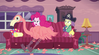 Pinkie Pie collapses on the couch in exhaustion EGDS3