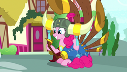 Pinkie Pie with yak helmet and yovidaphone S8E18