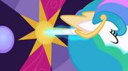 Princesa Celestia usando seu chifre como chave T2E01