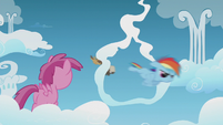 Rainbow Dash flies through a cloud ring S5E25