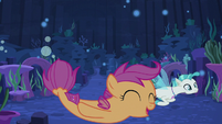 Scootaloo and Terramar swim close to sea floor S8E6