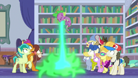 Spike breathes fire and burns his disguise S8E11