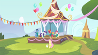 The other Ponytones and Fluttershy looking at Big Mac S4E14
