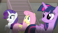 Twilight, Rarity, and Fluttershy looking off-screen S5E1