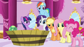 "Applejack, Pinkie Pie, and Rarity ""me too!"" S5E13.png"