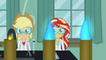 Applejack and Sunset in goggles and lab coats EG3.png