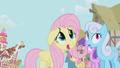 Fluttershy frightened by Gilda S1E05.png