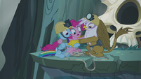 Ledge start to crumble underneath Gilda and ponies S5E8