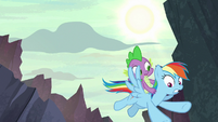 Rainbow Dash and Spike fly closer to the ground S7E25