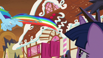 Rainbow Dash flies off toward town S9E2