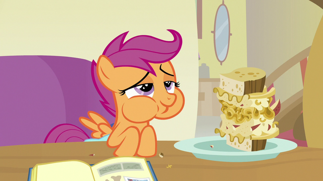 File:Scootaloo happily eating pasta and potato sandwich S7E7.png