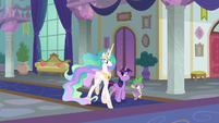 Twilight, Spike, and Celestia in the school hallway S8E7