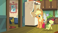 Apple Bloom walking past Applejack S9E10