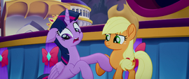 Applejack helping Twilight off the ground MLPTM