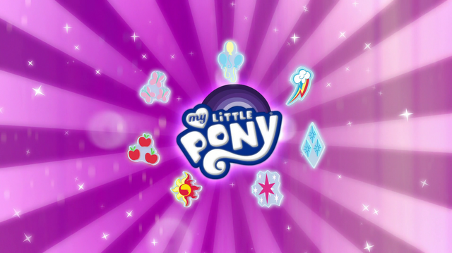 File:EG Specials intro - MLP logo with Mane Seven cutie marks.png