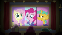 Fluttershy, Pinkie, and Snails see themselves on movie screen S9E6