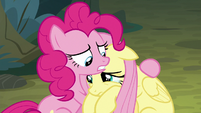 Pinkie Pie comforting Fluttershy S8E13