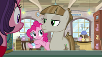 Pinkie Pie pointing at her wristwatch S8E3