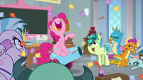 Pinkie Pie teaching with her party cannon S8E1