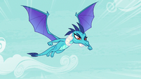 Princess Ember flying to Ponyville S7E15