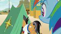Quibble Pants backing out of the tent S9E6