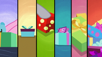 Six-way split-screen of presents being wrapped MLPBGE