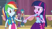 Twilight holding Rainbow Dash's hand EG2