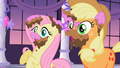 Applejack & Fluttershy covered in cake S2E9.png