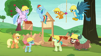 Applejack and students mad at Rainbow S8E9