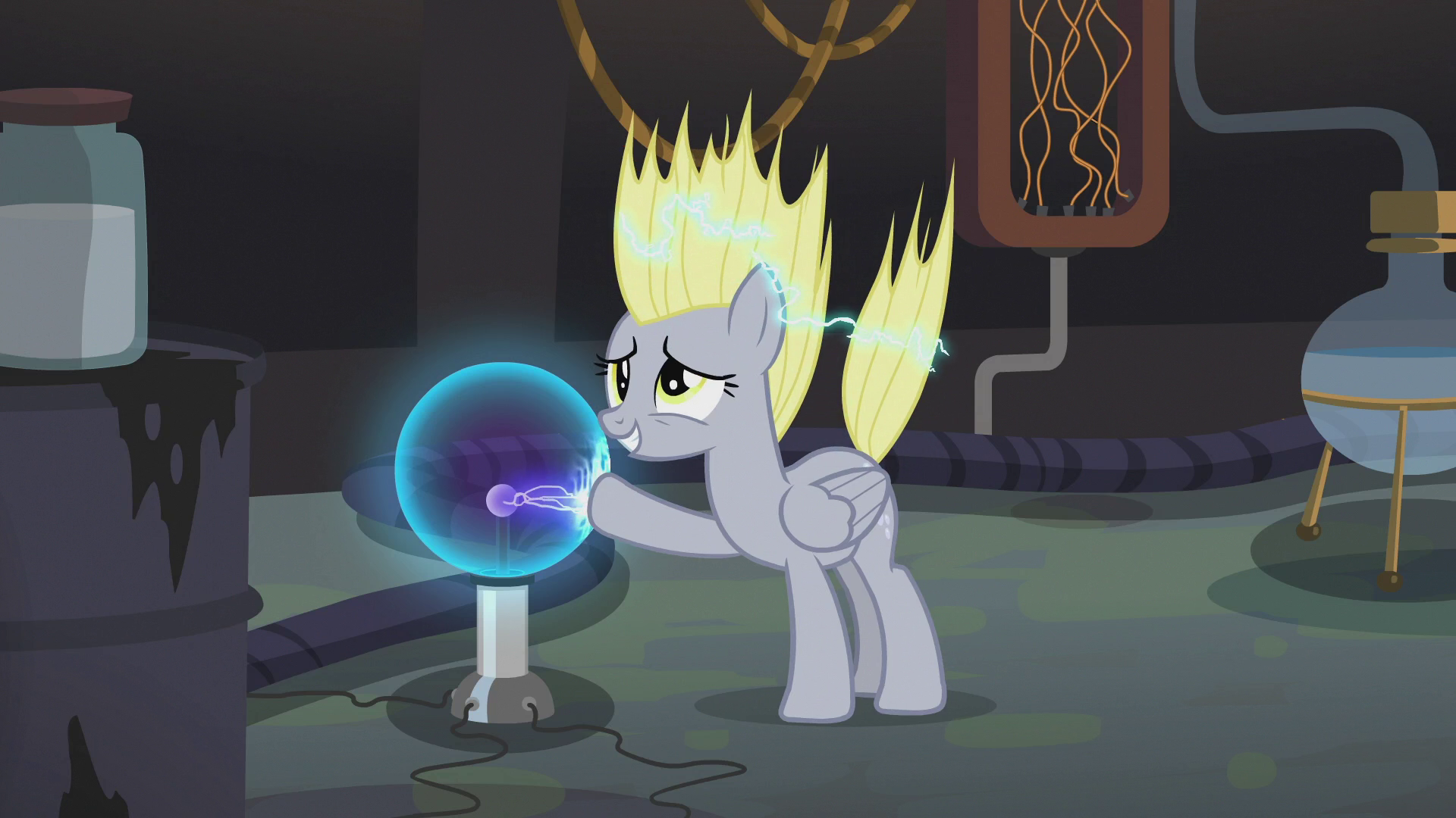 Derpy Touching A Plasma Ball In Dr Hooves Lab S5E9